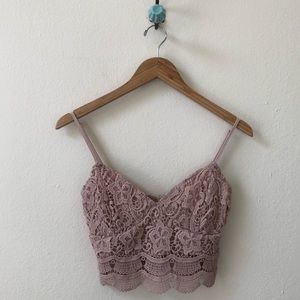 KENDALL KYLIE blush pink lace knit sexy crop top